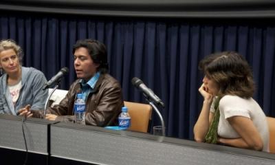 Cathy de Haan, Robinson Díaz y Gabriela Yepes.