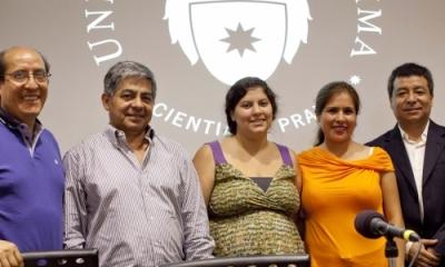 Arístides Sotomayor (profesor de Ingeniería Industrial), David Vela, Alejandra Elías Valer, Evelyn Barbarán y Jorge Sanabria (profesor de Ingeniería Industrial).