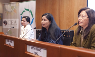 Floriza Flores, Nancy Carrasco y Betty Chung en la II Charla Verde del 2015-1.