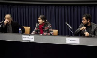 César Zamalloa, Marlene Dapozzo (moderadora) y Javier Baca.