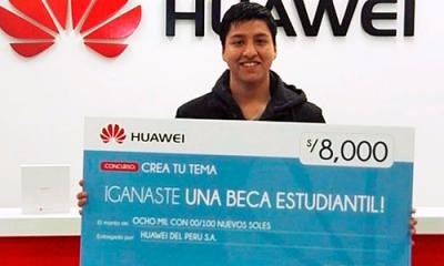 José Flores Antonio, alumno de Comunicación. Foto: Huawei, tomada de RPP.