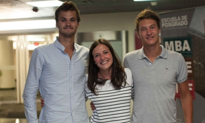 Matthieu Philardeau, Elise LeBlanc y Thomas Paumier (ESDES, Francia) han venido a estudiar cursos del MBA Ulima.