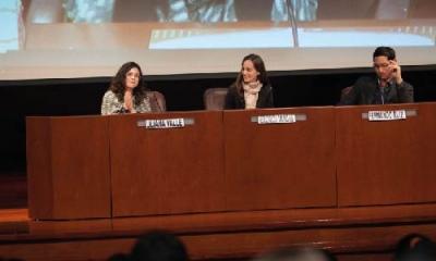 María Liliana Valle (moderadora), Verónica Vargas y Fernando Ruiz.