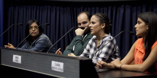 Enid Campos, Rodrigo Bedoya Forno, Enrica Pérez y Claudia Ruiz del Castillo en la Ventana Indiscreta.