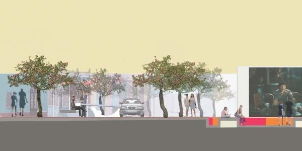 Corte transversal de la línea de la reconexión peatonal (calles Miraflores con Santa Rosa).